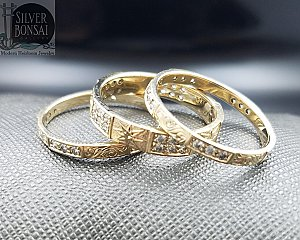3 ring Pave Stackable set